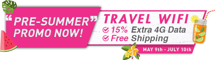 PRE-SUMMER PROMO NOW! TRAVEL WIFI 15% Extra 4G Data. Free Shipping.
