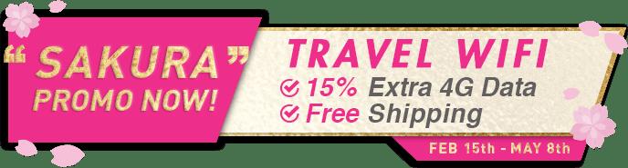 SAKURA PROMO NOW! TRAVEL WIFI 15% Extra 4G Data. Free Shipping.