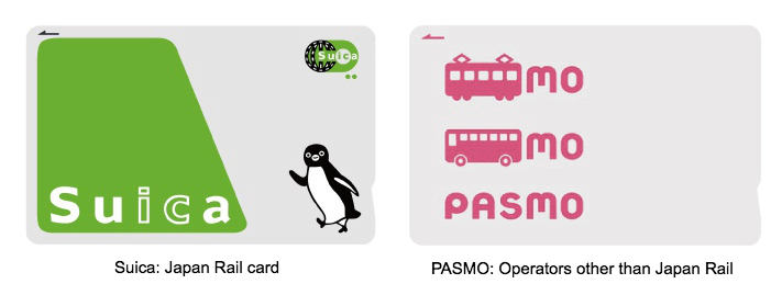 Suica:Japan Rail card, PASMO Operators other than Japan Rail