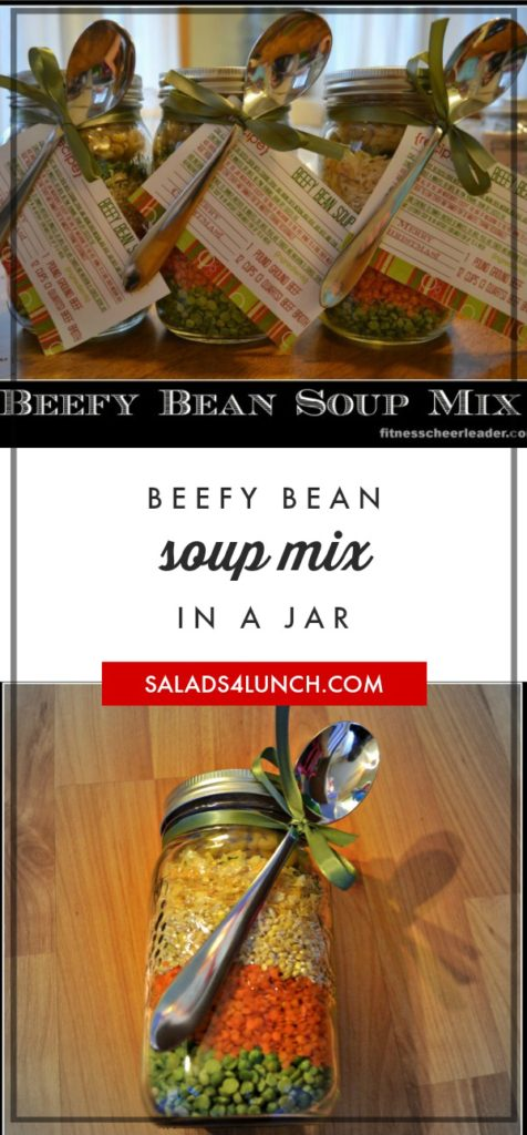 Beefy Bean Soup Mix in a Jar: A Fabulous (Healthy) Gift for Teachers - Great teacher gift! Beefy Bean Soup Mix with printable recipe card #teachergift #christmas #jargift via @fitcheerldr