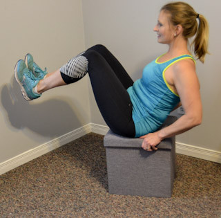 Sit on side of bench. Place hands on edge of bench. Position feet away from bench. Straighten arms, slide rear end off of edge of bench, and rest heels on floor with legs straight. Execution Lower body by bending arms until slight stretch is felt in chest or shoulder, or rear end touches floor. Raise body and repeat.