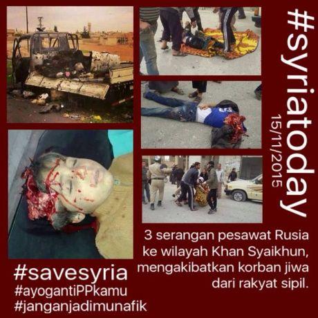Suriah-tiga Serangan udara pesawat tempur Rusia mengakibatkan korban warga sipil, termasuk anak-anak, Ahad (15 Nov) kemarin, dunia bungkam-jpeg.image