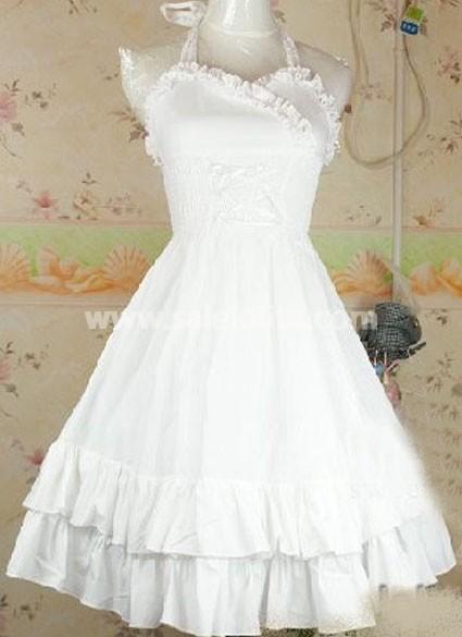 White Halter Ruffles Cotton Sweet Lolita Dress