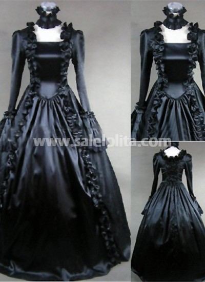 Elegant And Graceful Black Halloween Prom Party Gown Dress