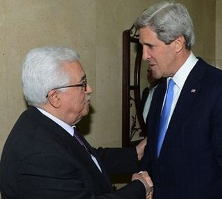 Abbas and Kerry by WAFA. It appeared in The Palestine Chronicle.