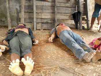 Two Rohingya brothers brutally slaughtered by Rakhine terrorists and security forces and killed in Ah Nauk Pyin village.