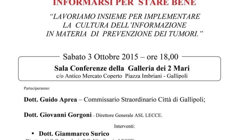 Il direttore generale ASL Lecce Giovanni GORGONI a Gallipoli per parlare di prevenzione oncologica