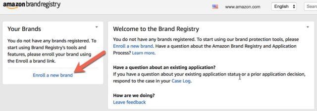 amazon brand registry log in