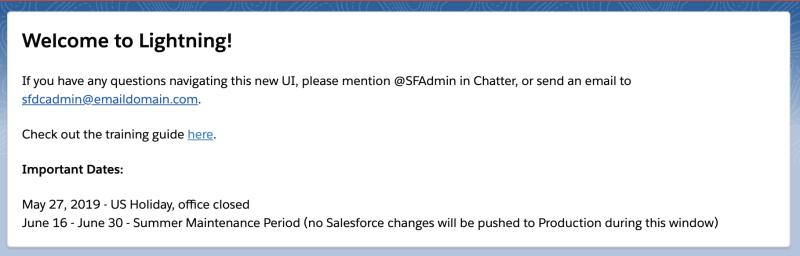 """, Comment faire des annonces Salesforce importantes pour votre organisation qui ne seront pas ignorées!<span class=""""wtr-time-wrap after-title""""><span class=""""wtr-time-number"""">8</span> minutes de lecture</span>"""