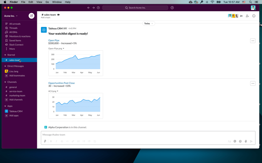 Initial design showing a Tableau CRM app Slack message returning a watchlist digest for key trended metrics; in this scenario, the trended metrics of Open Pipe and Opportunities Past Close show the amount and the percent increase and a chart image of the trend line.