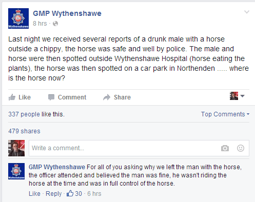 GMP Wythenshawe Facebook - Horse Incident