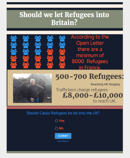 Infographic and Poll refugee numbers. To complete Poll please click on this hyperlink.