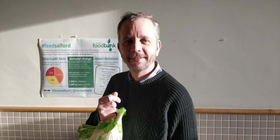 Colin Davies, MA Social work student who helped organise a food drive at the University.