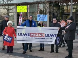 Leave protesters outside the BBC HQ in Media City, Salford.