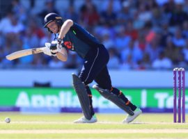 England's Jos Buttler hits out during the One Day International match at Emirates Old Trafford, Manchester.