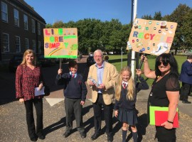 Eco Champions, Ted and Lucia and Cllr Derek Antrobus