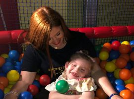 Hallie and mum Lucy at Playkidds on Saturday.