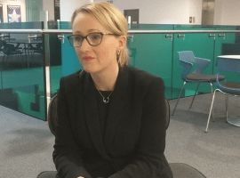 Rebecca Long- Bailey being interviewed on the Media City University Campus (CC: Harry Dunnett)