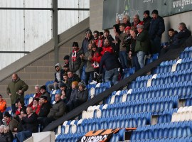 Salford City fans in attendance at Colchester United. Credit: Salford City