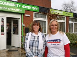 Eileen Crowe from Emmaus Salford with Michelle Walsh from Nationwide Building Society