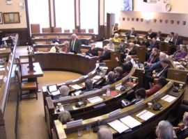 The Salford City Council budget meeting, shows all the councillors Credit: Salford City Council via Public-i