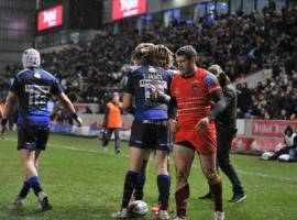 Marland Yarde scores a hat-trick against Leicester Tigers. Image Credit: Sale Sharks