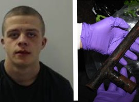 Lewis Pearson, alongside a recovered weapon from his home. All images supplied by GMP.
