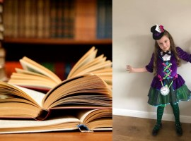 8 year old Gracie dressed up as The Mad Hatter from Alice In Wonderland. Permission for Image use given by the mother
