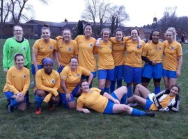 Lisa with her Swinton Ladies teammates after a cup match win during the 2019/20 season.