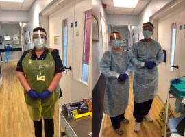 Staff from the hospice on the wards in their PPE