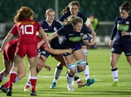 Sale Sharks' Nicola Huwat playing for Scotland