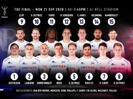 Sale Sharks' matchday squad for the Premiership Rugby Cup final this evening against Harlequins. Credit: Sale Sharks