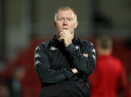 Salford City interim manager Paul Scholes on the pitch before kick off against Southend United, during the Sky Bet League Two match at Moor Lane, Salford.