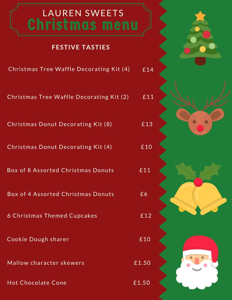 Lauren's Sweet Shop - Christmas Menu