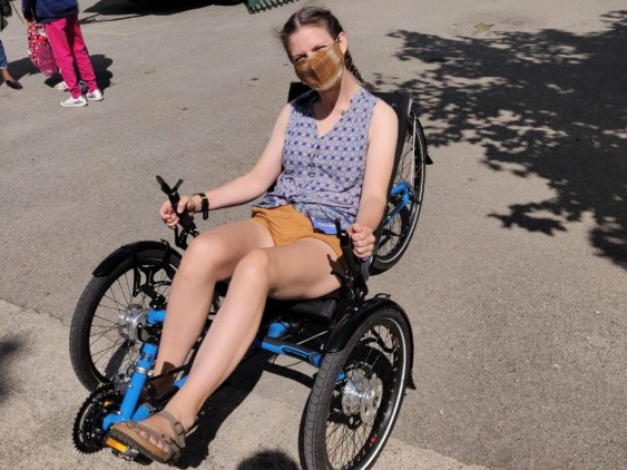 Harrie Larrington-Spencer trying out a trike in York