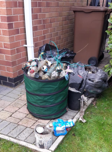 Bags of rubbish collected by the litter pickers