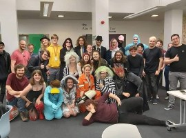 Salford University Tabletop Society dressed up for Halloween, credit: SU Tabletop Society