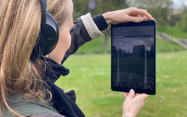 Artist Laura Daly testing The Storm Cone experience in Peel Park, May 2021. Photograph: Jon Smith.