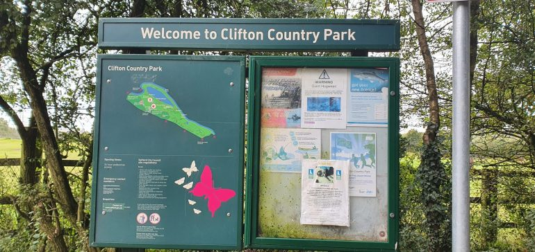 October Walking Festival at Clifton Country Park welcome sign. Image taken by Rutabah Khan