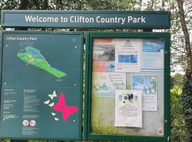 Clifton Country Park welcome sign. Image taken by Rutabah Khan