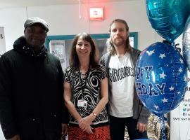 A picture of radio manager , Jill Bowyer, with two of the station's volunteers. Credit: Salford City Radio