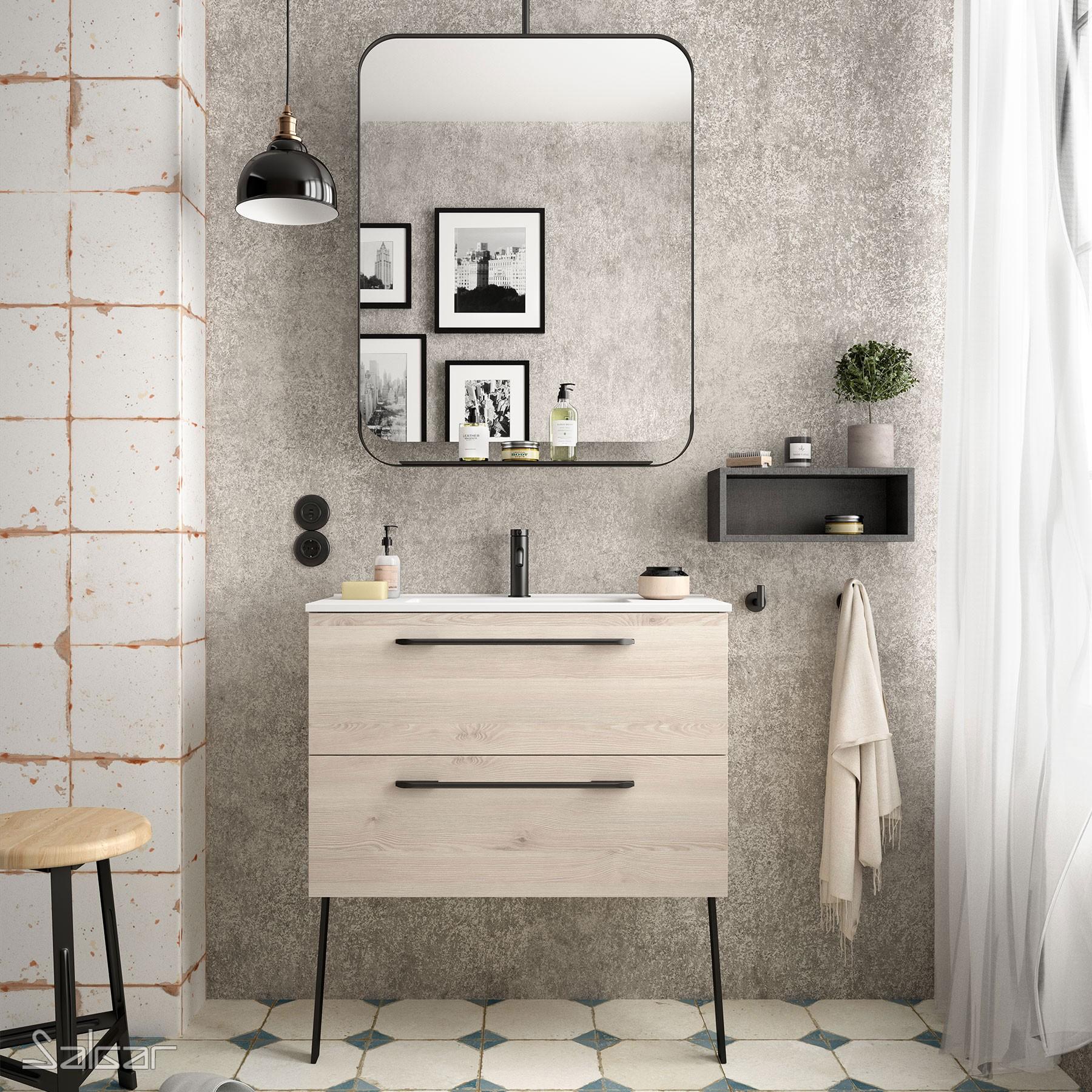 meuble s35 800 2 tiroirs chene naturel 797 x 540 x 346 mm