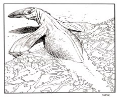 Imaginary amphibious dinosaur