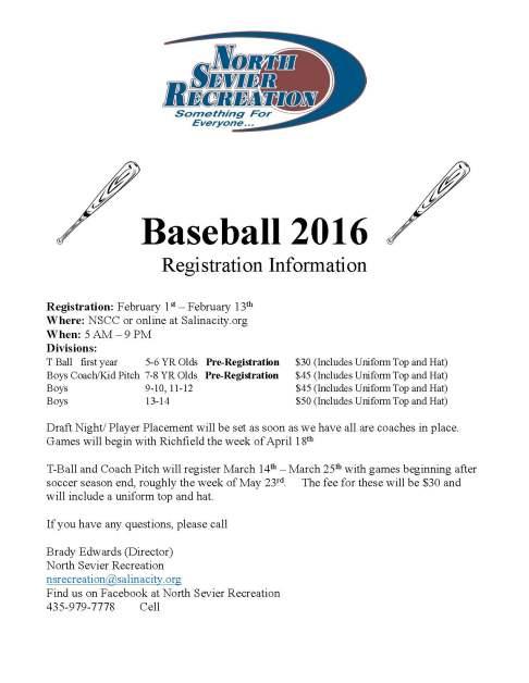 2016 BASEBALL INFORMATION