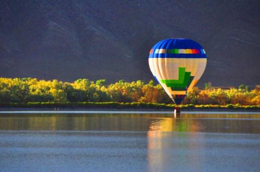 Skimming Redmond Lake-Eyes to the Sky Balloon Fest 2014 Salina, Utah