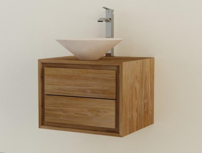 meuble de salle de bain teck a suspendre valde l60 cm