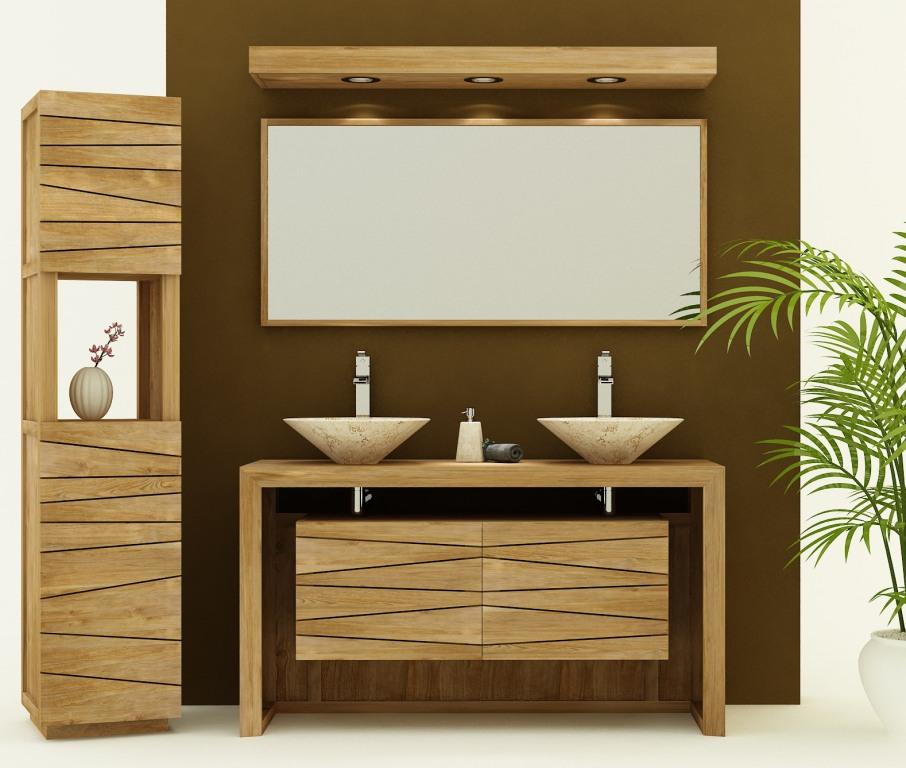 meubles de salle de bain en teck pas
