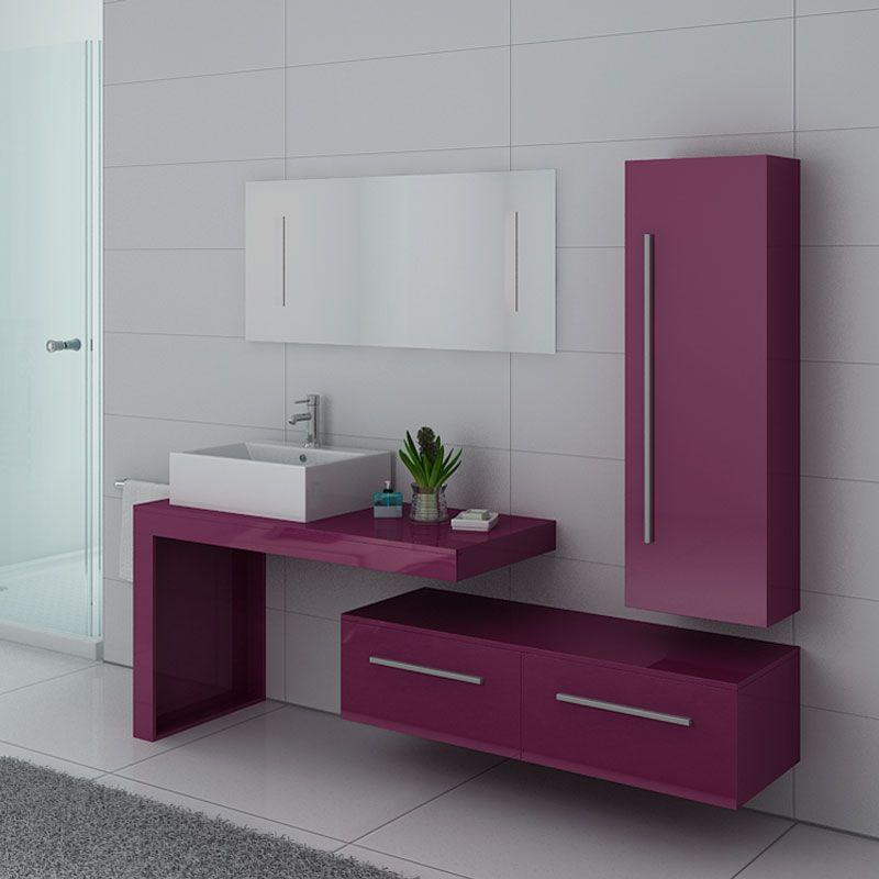 meuble salle de bain aubergine dis9250au