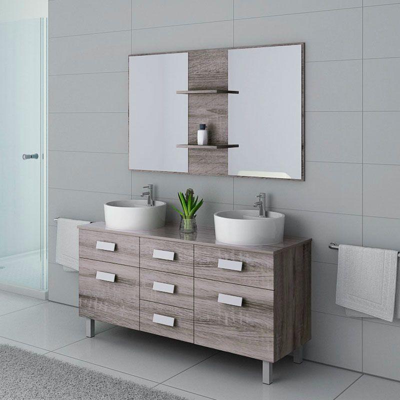 meubles salle de bain dis911cg chene gris