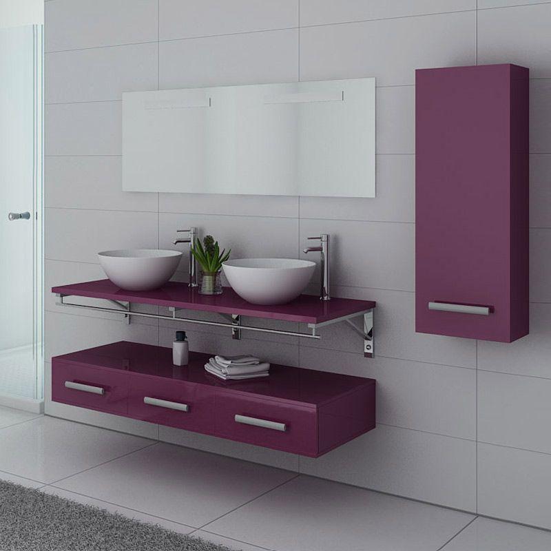 meubles salle de bain virtuose duo aubergine